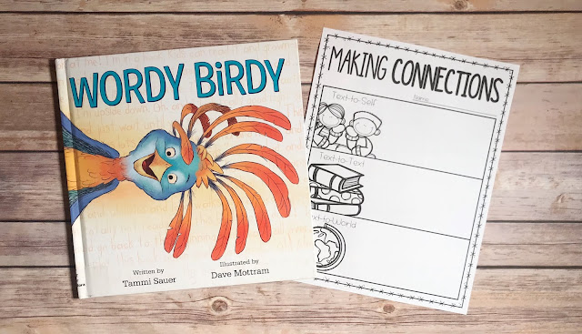 """Picture Book with text """"Wordy Birdy"""" and Making Connections Graphic Organizer"""