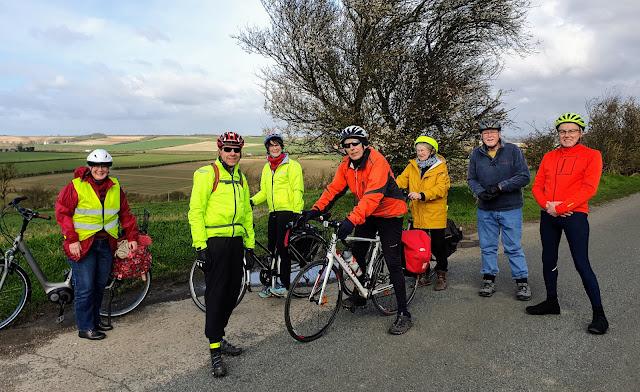 Cyclists on Coploe Hill, South Cambridgeshire