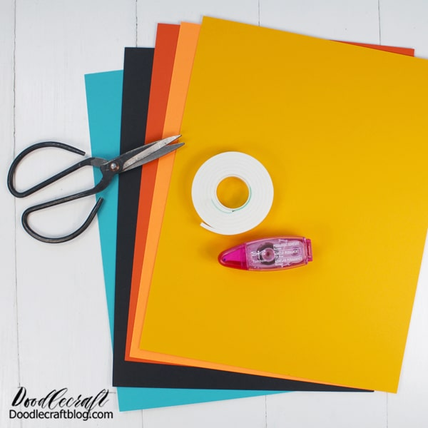 Supplies Needed for Delicate Arch Dimensional Papercraft: Cardstock paper (turquoise, black, orange, light orange and yellow) Tombow Power Mini Glue Tape Tombow Foam Tape Scissors Paper cutter