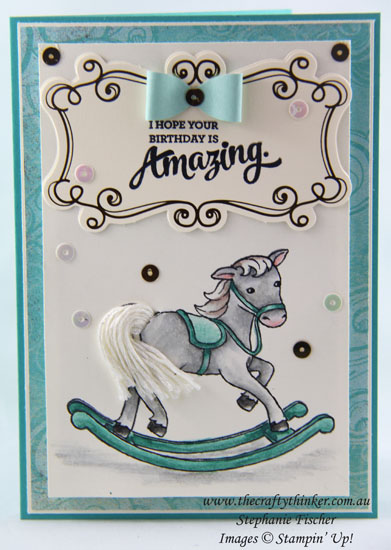 www.thecraftythinker.com.au, Little Cuties, baby card, Embellishments, Rocking Horse, #thecraftythinker, Stampin Up Australia Demonstrator, Stephanie Fischer, Sydney NSW