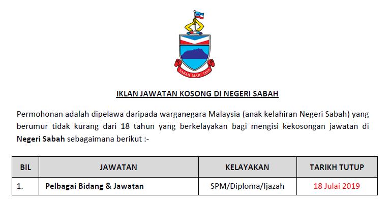Jawatan Kosong Di Negeri Sabah Kelayakan Spm Diploma Ijazah Ejawatankini Com