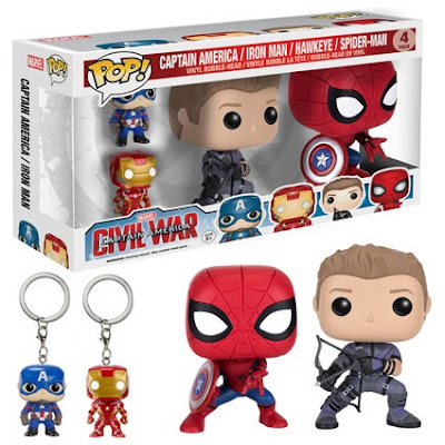 Captain America: Civil War Pop! Marvel Box Set by Funko - Spider-Man Pop!, Hawkeye Pop!, Captain America Pocket Pop! KeyChain & Iron Man Pocket Pop! KeyChain