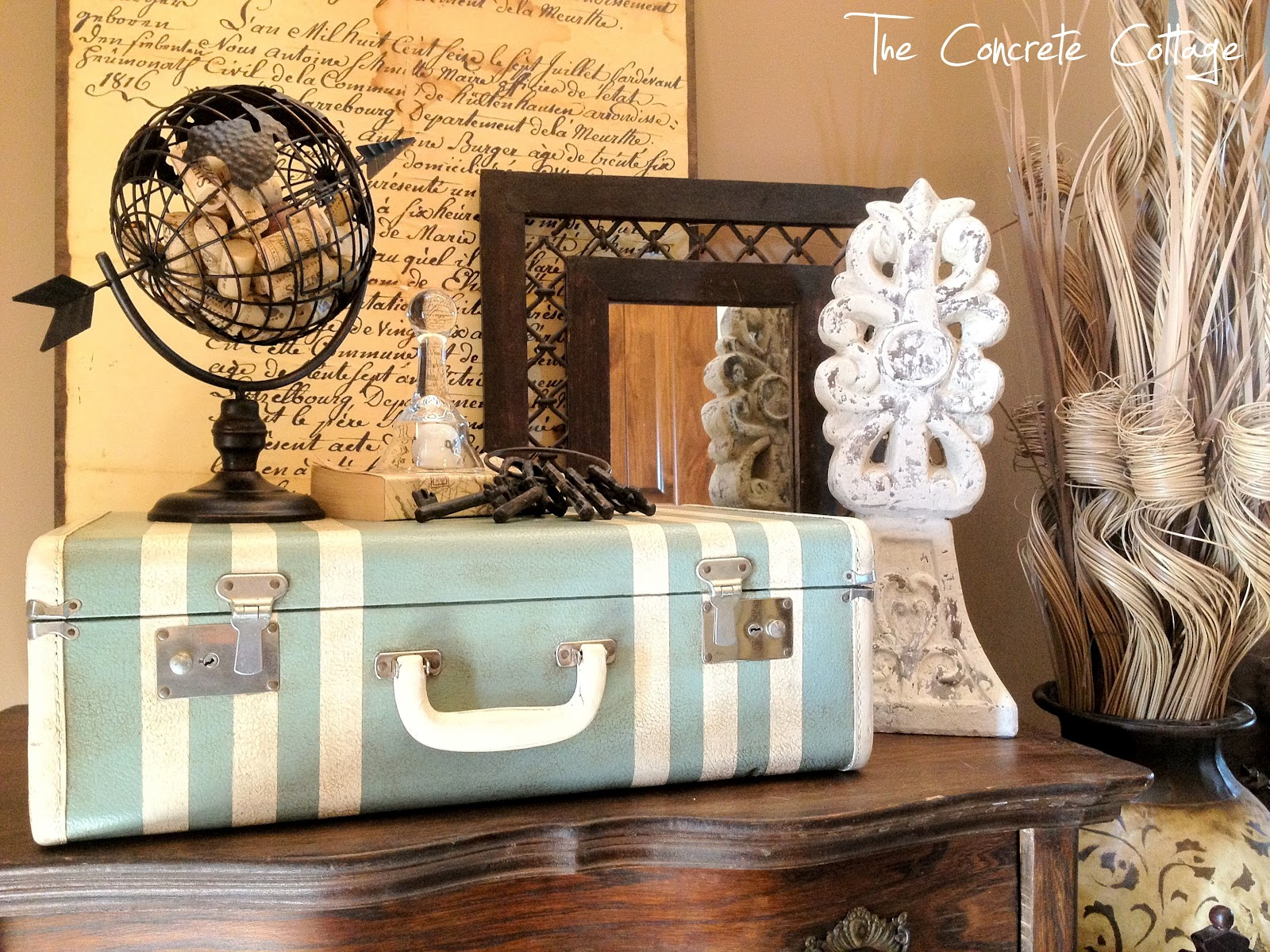 Vintage Decorative Suitcases Our Hopeful Home Diy Painted Vintage Suitcase