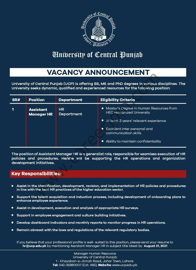 University Of Central Punjab UCP Jobs Assistant Manager HR