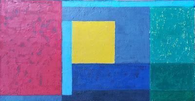 Geometric painting, abstract art piece. ocean, blue, sailboat, sea,