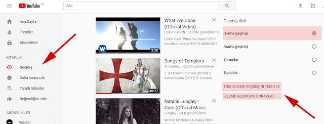 youtube izleme geçmişi
