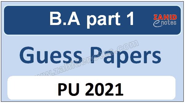 B.A part 1 guess paper 2021 PU
