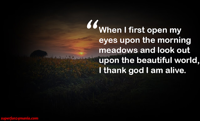"""""""When I first open my eyes upon the morning meadows and look out upon the beautiful world, I thank god I am alive."""""""