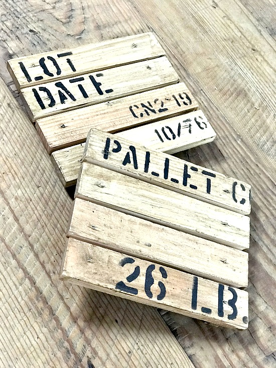 Rustic DIY Stenciled Coasters made to look like small pallets