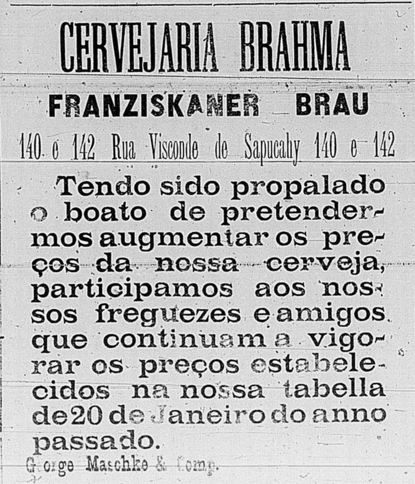 Anúncio da Cervejaria Brahma em 1898 para combater o boato de aumento de preços
