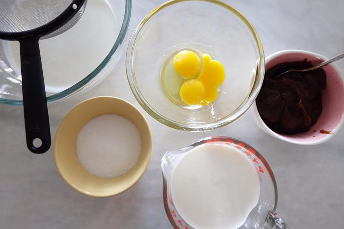 prepping ice cream base ingredients