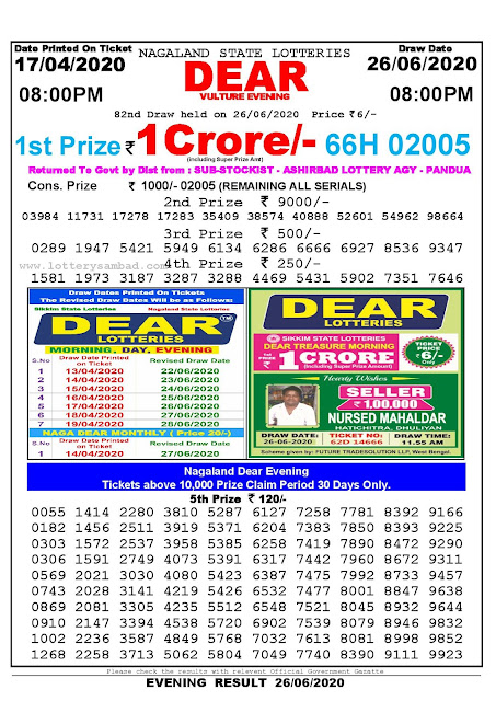 Lottery Sambad Today 17.04.2020 Dear Vulture Evening 800 pm