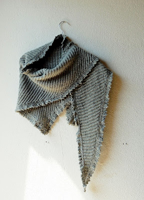 Brioche shawl with crochet border  using the Fisherman's Rib stitch pattern