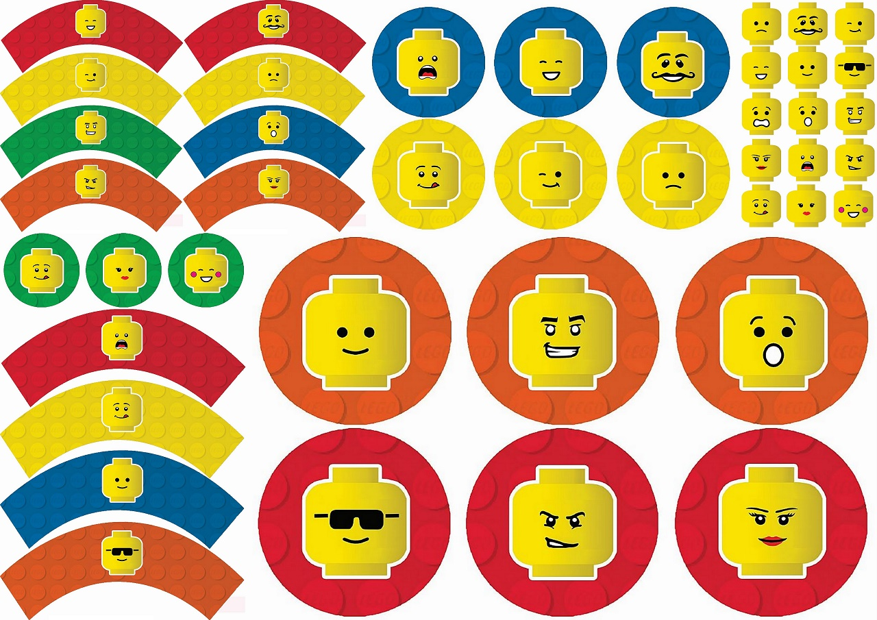 image about Lego Party Printable titled Lego Get together Cost-free Printable Cupcake Wrappers and Toppers. - Oh