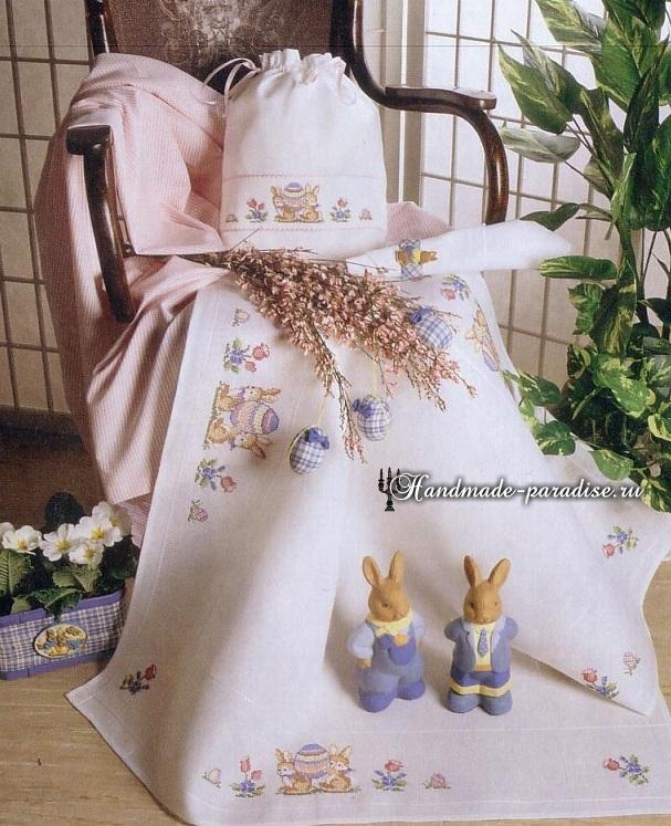 Пасхальная вышивка для скатерти. Схемы