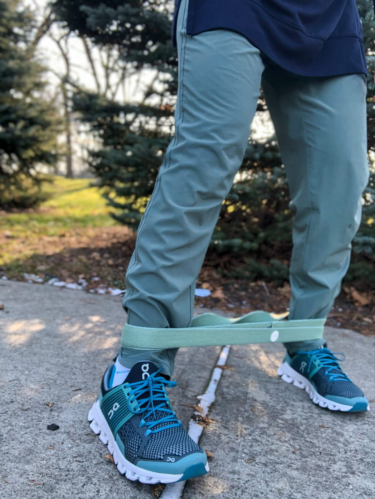 long bnd resistance band around ankles