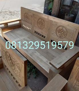 contoh kursi kayu jati 3 dudukan