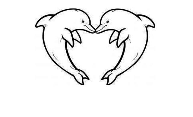 dibujos faciles amor delfines corazon