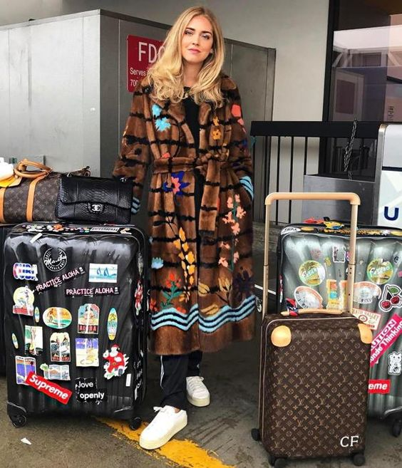 Chiara Ferragni in a Fendi mink fur coat.