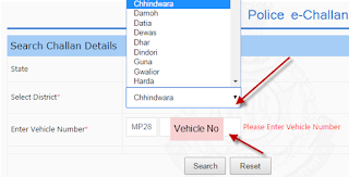 Step 2:Check and Pay Madhya Pradesh(MP) Traffic E-Challan Online