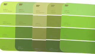 green paint chip cards
