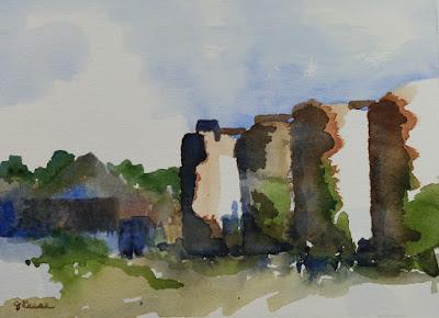 Watercolor - John Keese - Abandoned Grain Silos