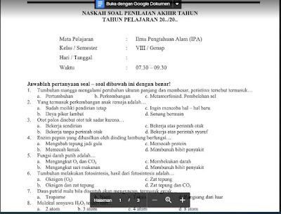 PAT Ilmu Pengetahuan Alam Kelas 8 Kurikulum 2013