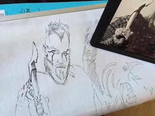 """Un viking de """"Vikings"""", encre de chine sur toile brute - travail en cours ©Guillaume Néel"""