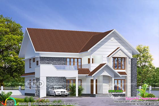 2680 square feet sloping roof home design