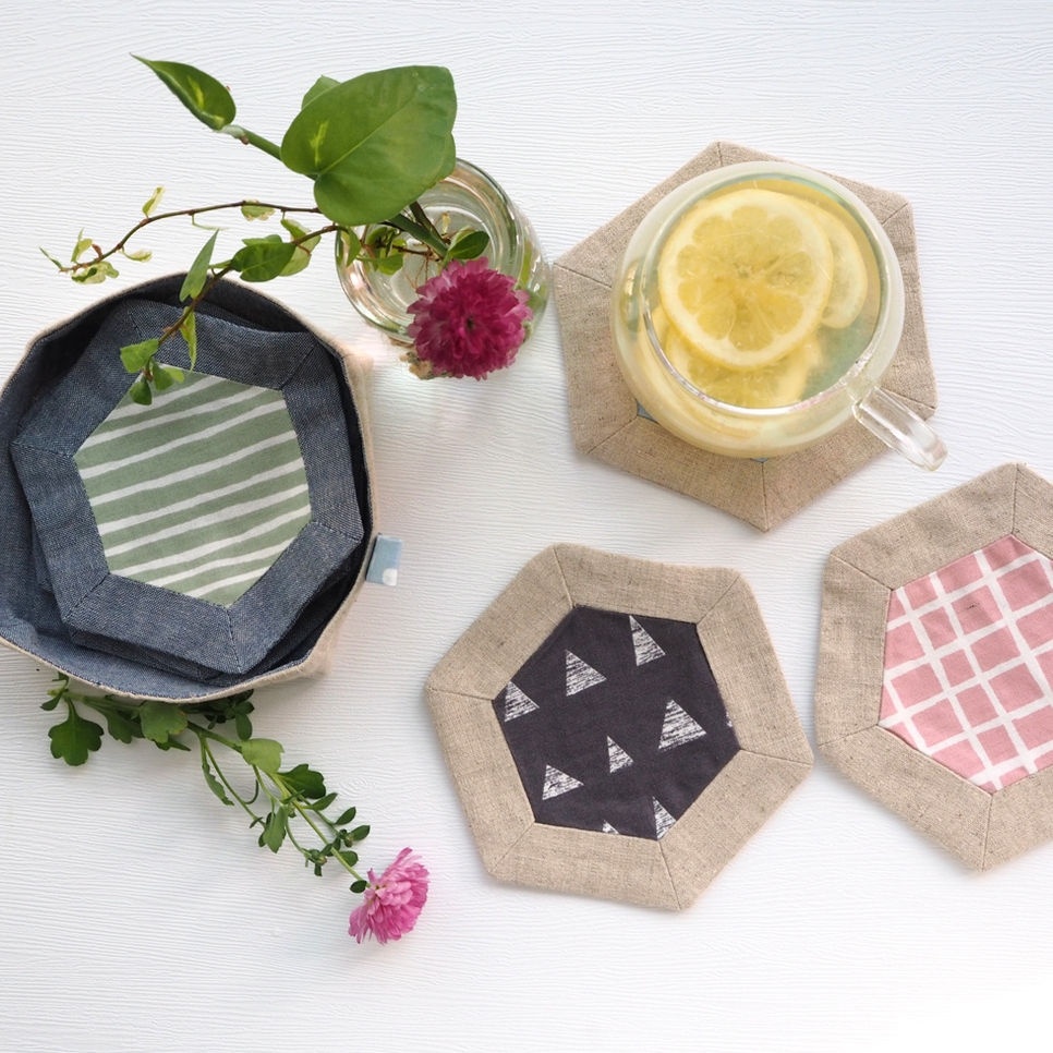 Hexagon Patchwork Tea Coasters Patterns. Quick Gifts to Stitch!