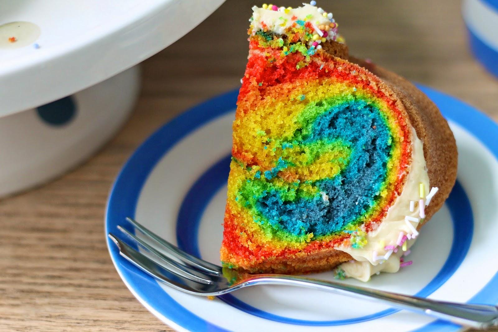 The Crafty Larder Rainbow Bundt Cake