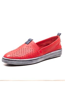 %100 deri yazlık kadın babet kırmızı ayakkabı