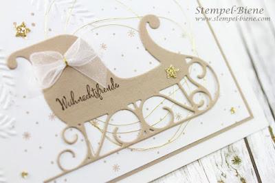 Weihnachtskarte; Stampinup Schlittenkarte; Prägeform Tannenzweig; Tannenzauber; Weihnachtskarte Vintage; einfache Weihnachtskarte, Stempel-Biene