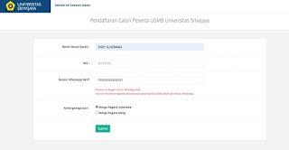 Tata Cara Membuat Akun Ujian Seleksi Mandiri Bersama (USMB) Universitas Sriwijya