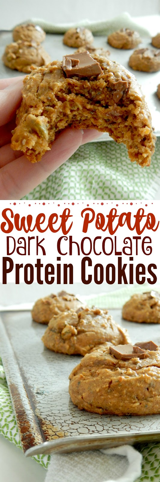 Sweet Potato Dark Chocolate Protein Cookies....the perfect morning breakfast or afternoon snack.  With 6 grams of protein they are enough to keep you full, yet are not full of refined sugar.  Also a great after school snack for kids! (sweetandsavoryfood.com)