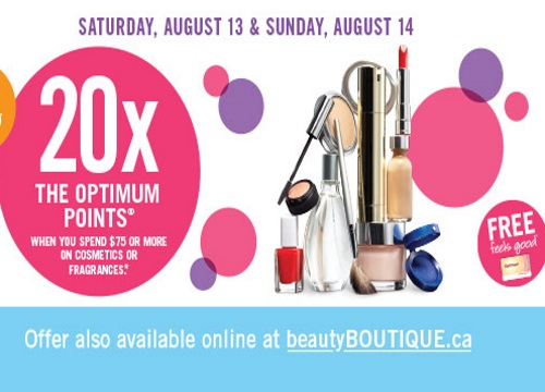 Shoppers Drug Mart 20x Optimum Points on Cosmetics & Fragrances