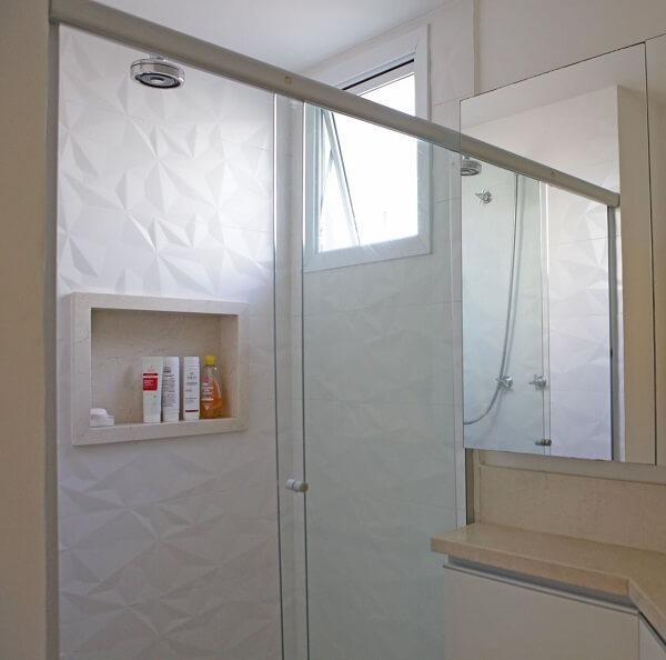 3D white bathroom tile