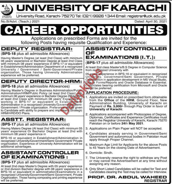 New Jobs University of Karachi Jobs May 2021