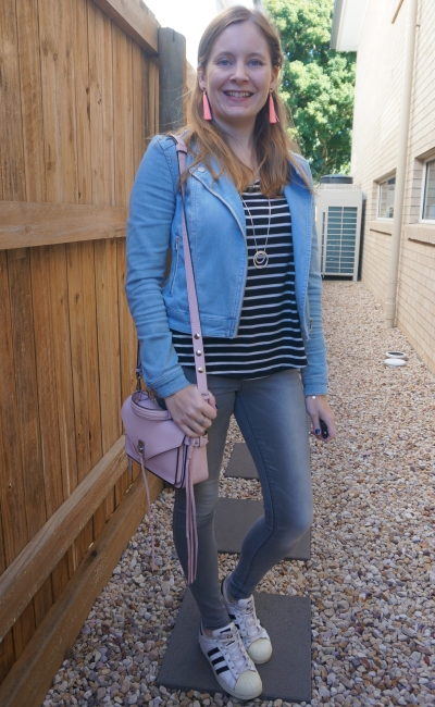 double denim winter outfit blue jacket grey skinnies Adidas Superstar and pastel accessories | awayfromblue