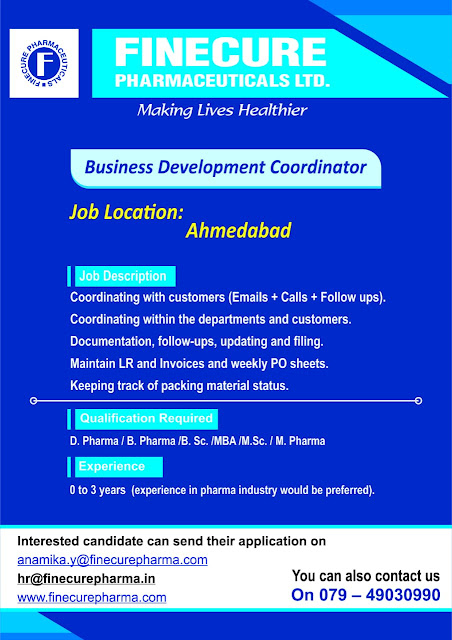 Finecure Pharmaceuticals Ltd Urgent Hiring Freshers and Experienced Apply Now