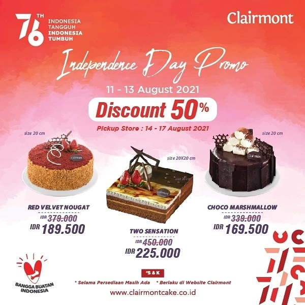 Clairmont Promo INDEPENDENCE DAY Diskon 50%