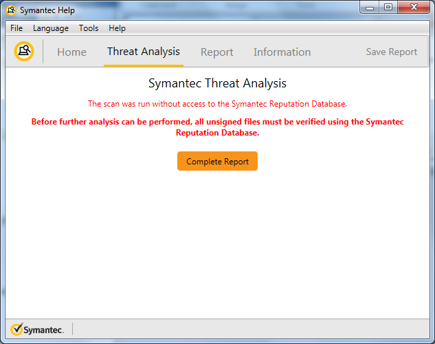 Malware Threat Analysis Scan Complete SymDiag