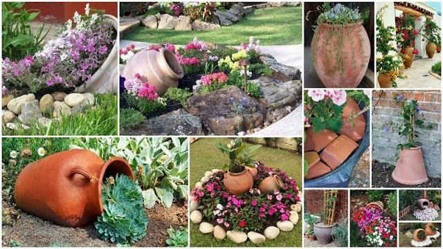 Καλοκαιρινή διαμόρφωση κήπου με μεγάλες Πήλινες γλάστρες & Κιούπια