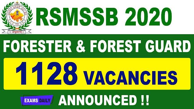 Rajasthan RSMSSB Forester & Forest Guard Recruitment 2020 Online Form