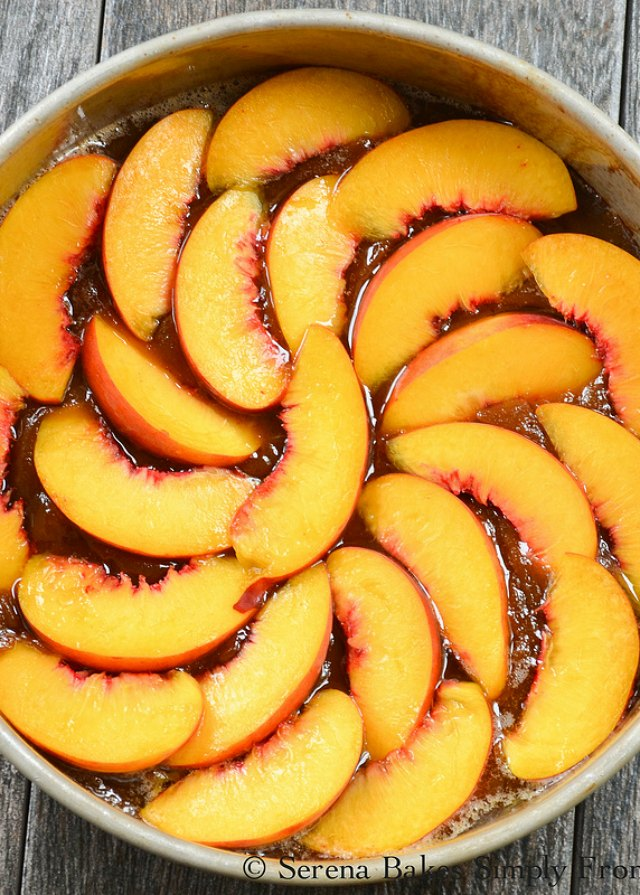 Peach Upside Down Cake recipe is a southern favorite. Perfect for dessert or brunch from Serena Bakes Simply From Scratch.