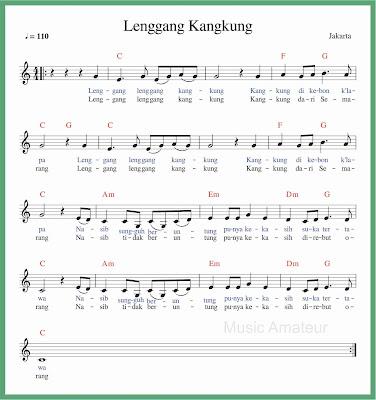 not balok lagu lenggang kangkung