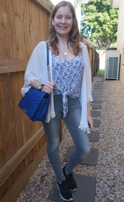 spring crochet trim white kimono with floral cami grey jeans cobalt bag   away from blue