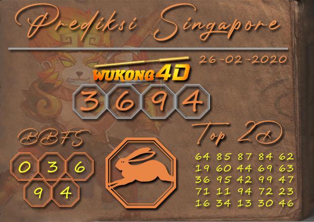 Prediksi Togel SINGAPORE WUKONG4D 26 FEBRUARI 2020