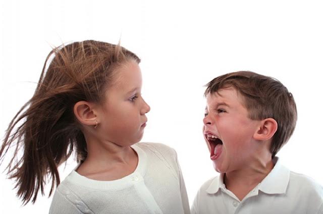 Filho agressivo, menino pequeno, gritando com irmã, menina mais velha.