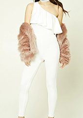 Forever 21 white jumpsuit with ruffles